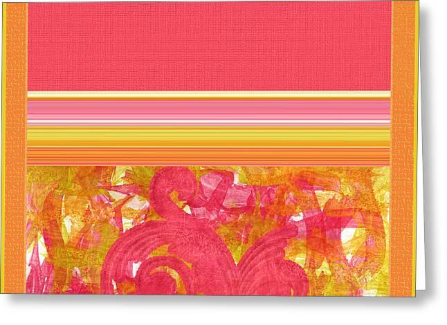 Tangerine Digital Art Greeting Cards - Jump for Joy Greeting Card by Bonnie Bruno