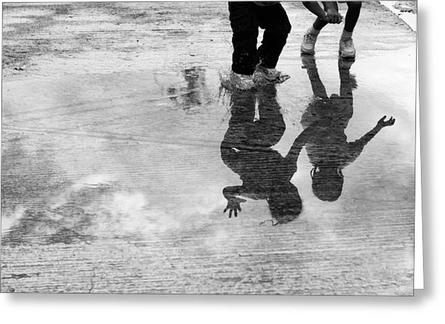 Puddle Greeting Cards - Jumping and splasing in a puddle in black and white Greeting Card by Anya Brewley schultheiss