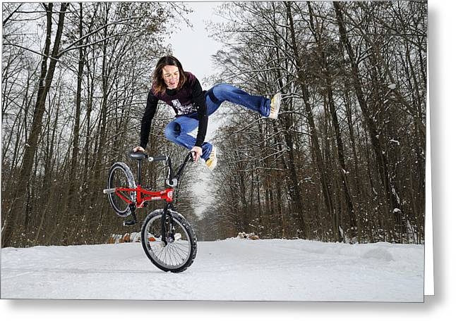 Jumping Bmx Flatland Girl Greeting Card by Matthias Hauser