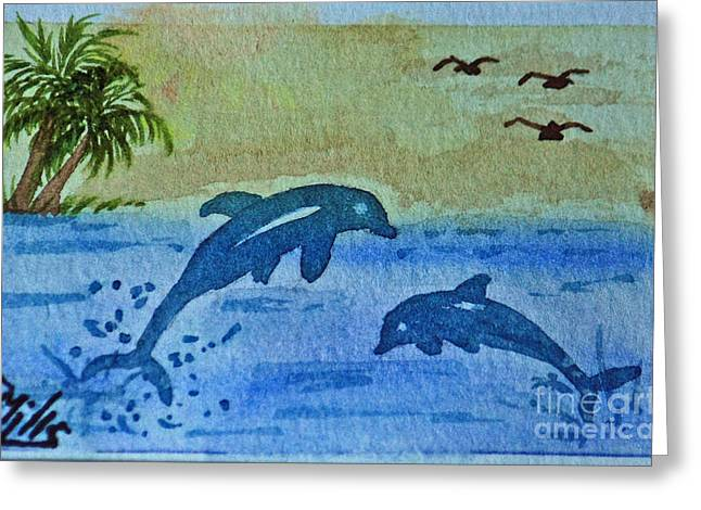 Terri Waters Paintings Greeting Cards - Jumping Dolphins Greeting Card by Terri Mills