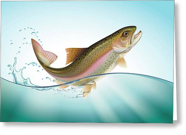 Rainbow Trout Digital Art Greeting Cards - Jumping Rainbow trout Greeting Card by Artem Efimov