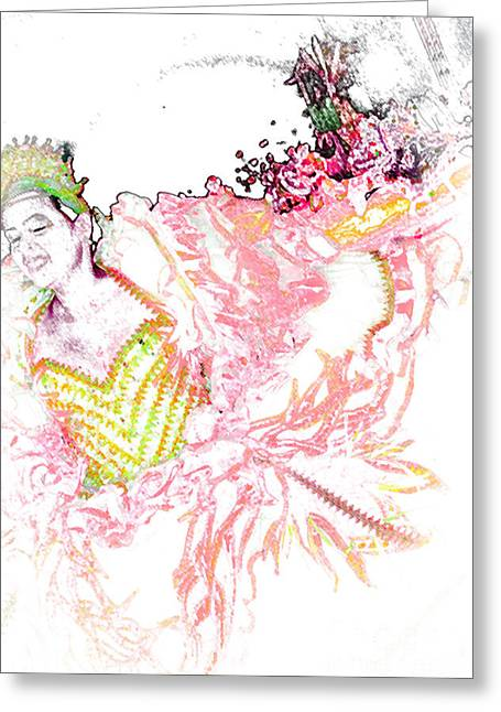 Woman In A Dress Drawings Greeting Cards - June Festival 3 Greeting Card by Rosane Sanchez
