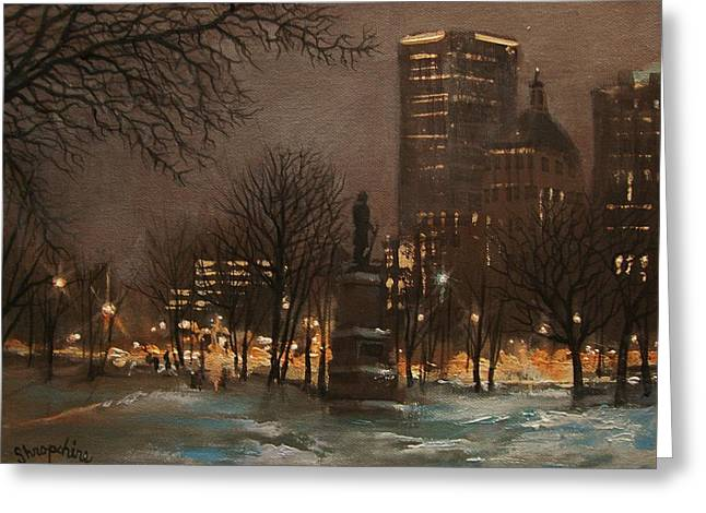 Park Scene Paintings Greeting Cards - Juneau Park Milwaukee Greeting Card by Tom Shropshire
