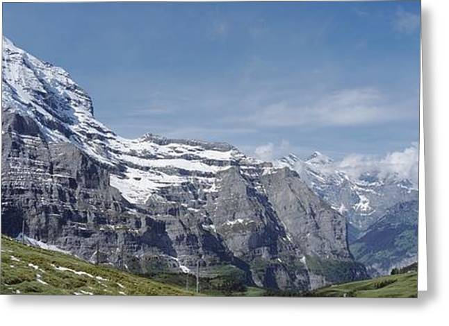 Snowy Day Greeting Cards - Jungfrau And Lauterbrunnnen Valley Greeting Card by Axiom Photographic