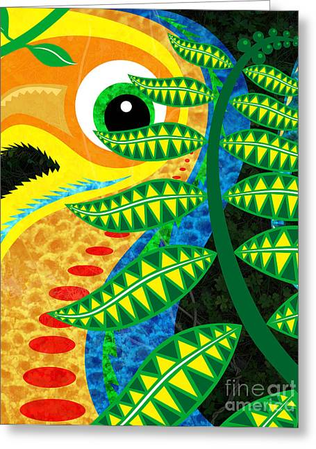 Cute Mixed Media Greeting Cards - Jungle Bird Greeting Card by Robert Ball