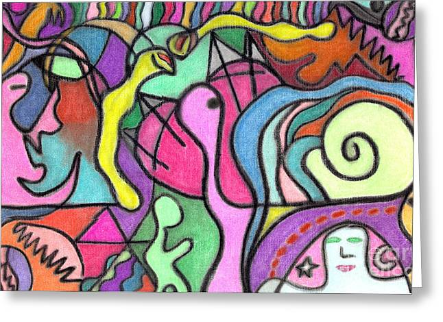 Snakes Pastels Greeting Cards - Jungle Creatures Greeting Card by Christine Perry