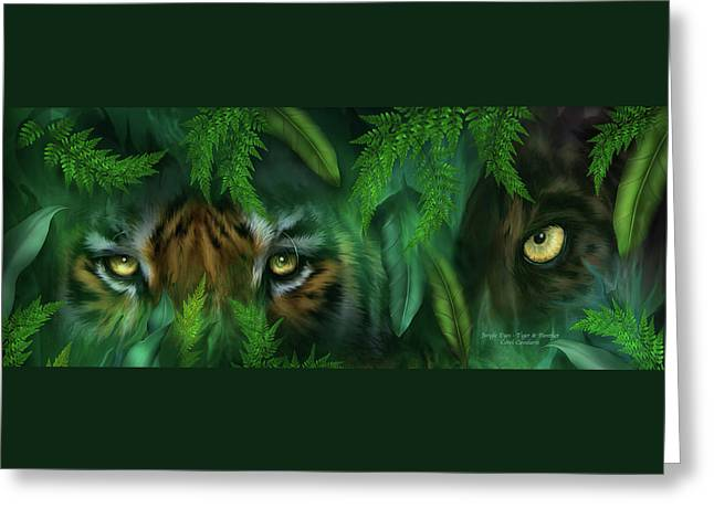 Big Cat Art Greeting Cards - Jungle Eyes - Tiger And Panther Greeting Card by Carol Cavalaris
