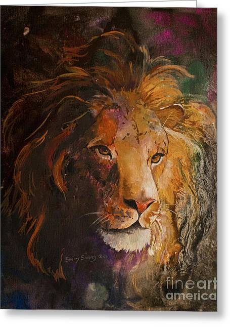 Aslan Greeting Cards - Jungle Lion Greeting Card by Sherry Shipley