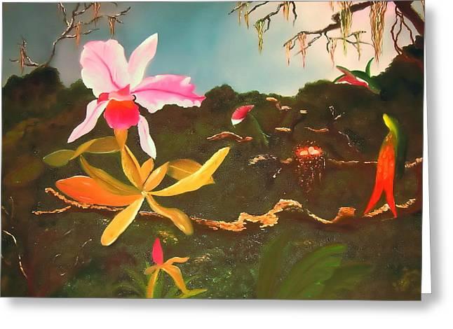 Alanna Hug-mcannally Greeting Cards - Jungle Orchid Greeting Card by Alanna Hug-McAnnally