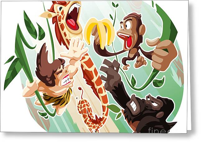 Bananas.ape Greeting Cards - Jungle out there Greeting Card by Masaru Horie