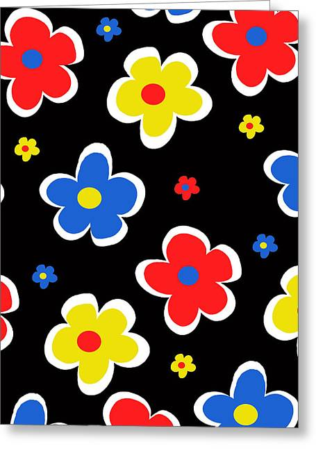 Bold Style Greeting Cards - Junior Florals Greeting Card by Louisa Knight