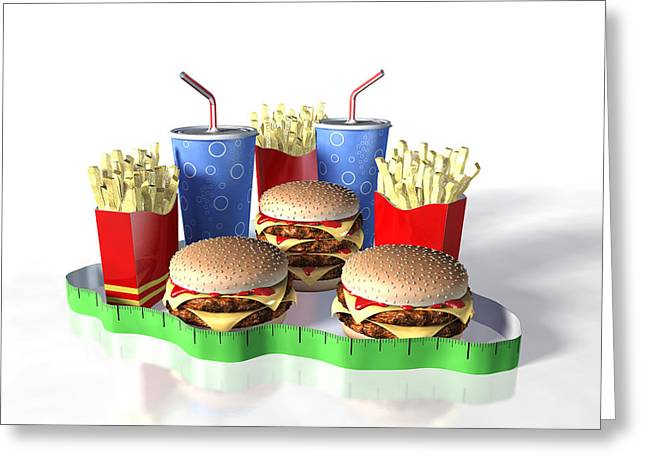Junk Food And Tape Measure Greeting Card by David Mack