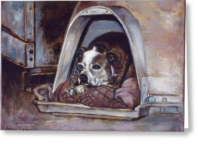 Guard Dog Greeting Cards - Junkyard Dog Greeting Card by Harvie Brown