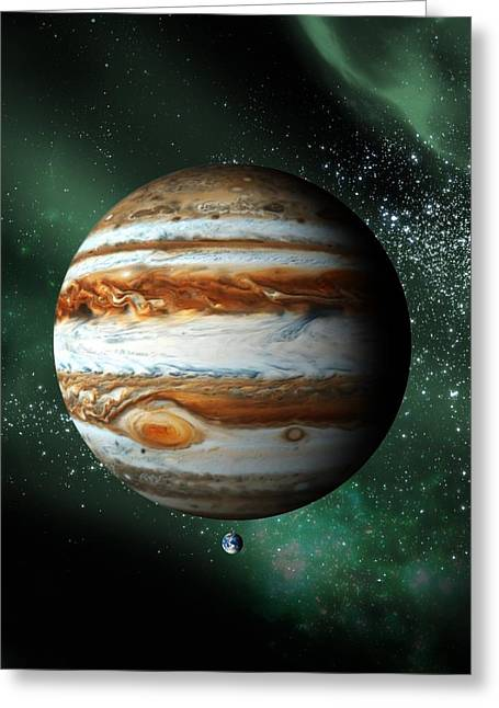Comparison Greeting Cards - Jupiter And Earth, Artwork Greeting Card by Victor Habbick Visions