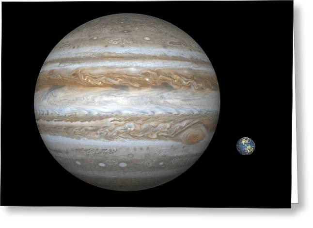 Spheroid Greeting Cards - Jupiter And Earth Compared, Artwork Greeting Card by Walter Myers
