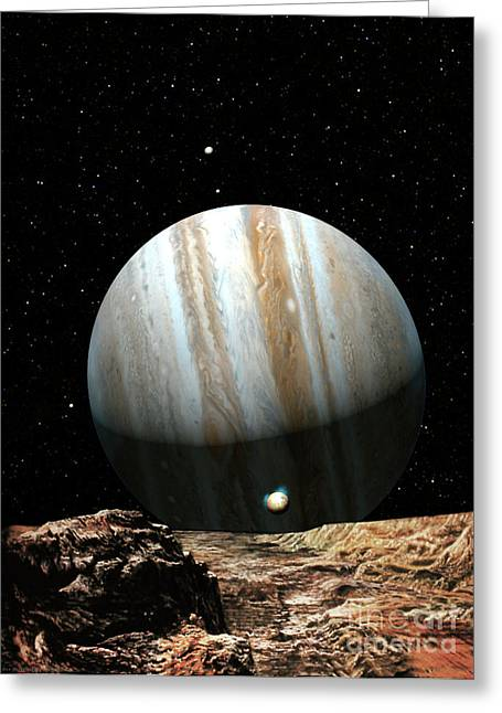 Astronomy Paintings Greeting Cards - Jupiter Seen From Europa Greeting Card by Don Dixon