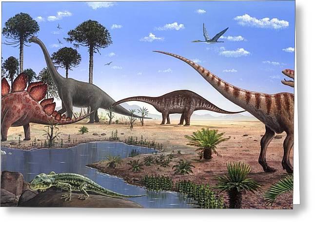 Gecko Illustration Greeting Cards - Jurassic Dinosaurs, Artwork Greeting Card by Richard Bizley