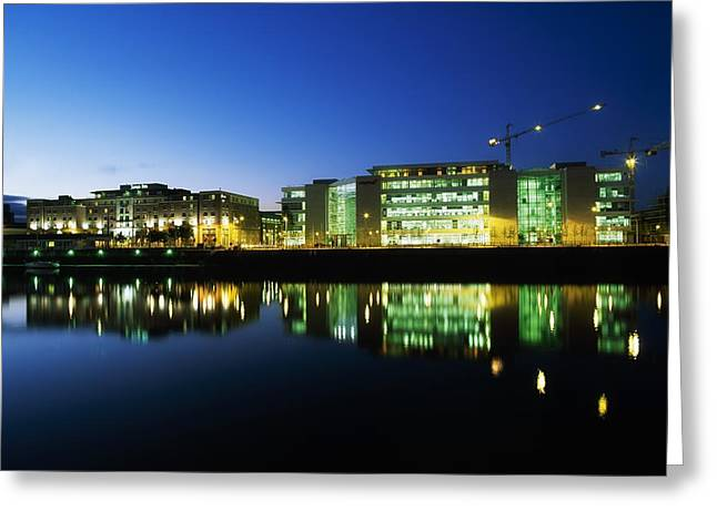 Reflections Of Sky In Water Greeting Cards - Jurys Hotel & Citigroup Buildings Greeting Card by The Irish Image Collection
