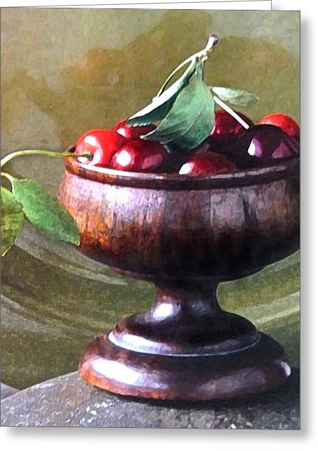 Best Sellers -  - Wooden Platform Greeting Cards - Just a bowl of cherries Greeting Card by Anke Wheeler