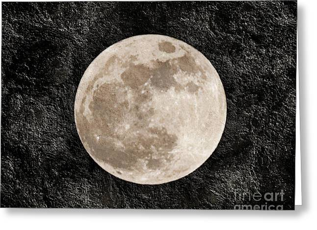 Rare Mixed Media Greeting Cards - Just A Little Ole Super Moon Greeting Card by Andee Design