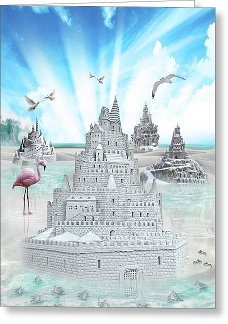 Sand Castles Greeting Cards - Just Beachy Greeting Card by Lisa Evans