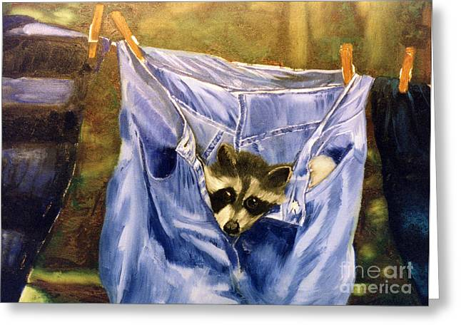 Raccoon Greeting Cards - Just Hanging Around Greeting Card by Thomas Luca