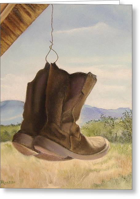 Boots Pastels Greeting Cards - Just Hanging Out Greeting Card by Denise Locke