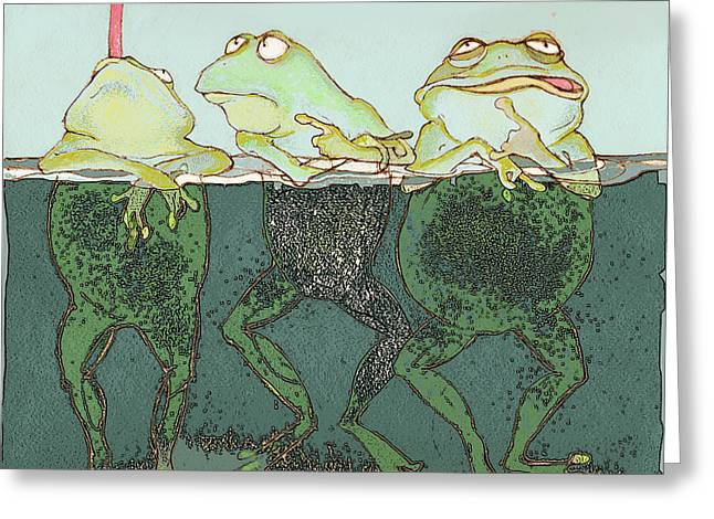Amphibian Mixed Media Greeting Cards - Just Hanging Greeting Card by Peggy Wilson