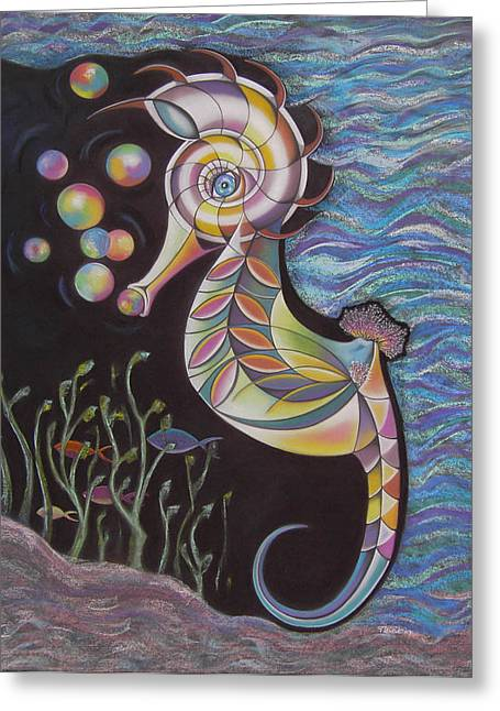 Seahorse Pastels Greeting Cards - Just Horsin Around Greeting Card by Tracey Levine