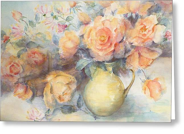 Flower Still Life Greeting Cards - Just Joey Roses Greeting Card by Karen Armitage