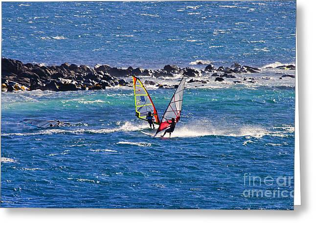 Windsurfer Greeting Cards - Just Passing By Greeting Card by Mike  Dawson