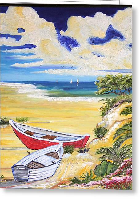 Just Right Greeting Cards - Just right for Boating Greeting Card by Ann Iuen