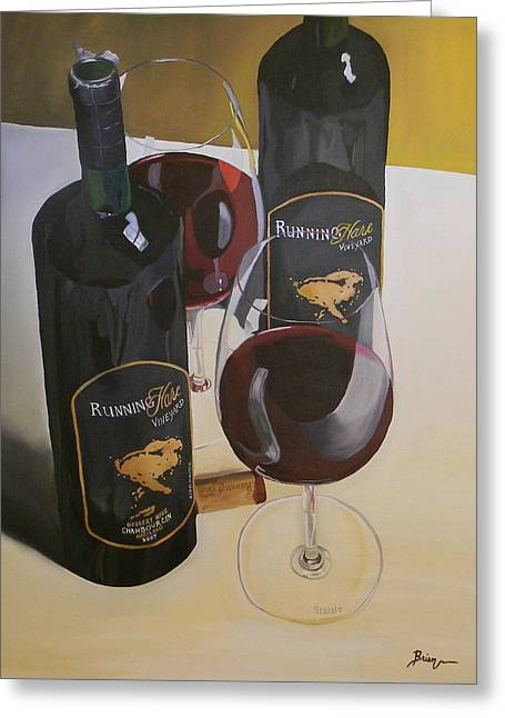Red Wine Prints Greeting Cards - Just The 2 Of Us Greeting Card by Brien Cole