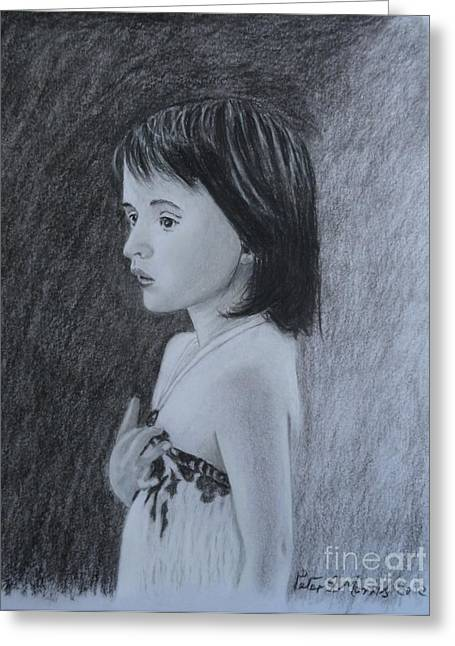 Pensive Drawings Greeting Cards - Just Thinking Greeting Card by Peter Morris