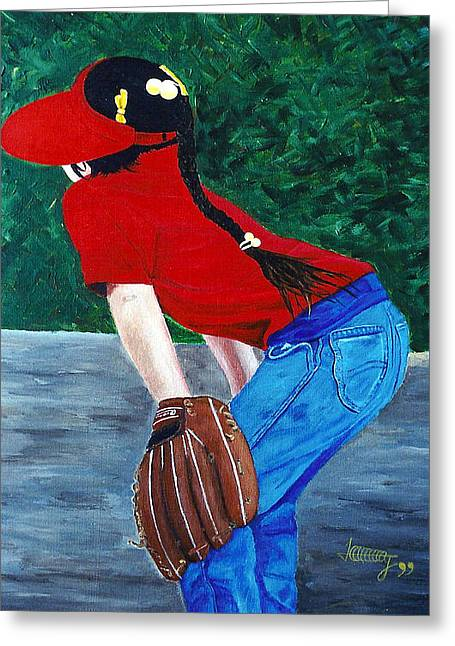 Baseball Glove Paintings Greeting Cards - Just try to Hit it by me Greeting Card by JoeRay Kelley