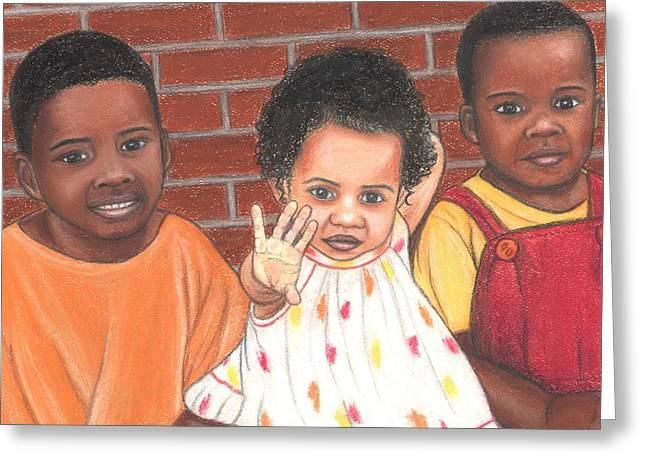 African-american Pastels Greeting Cards - Just Us Three Greeting Card by Paula  Parker