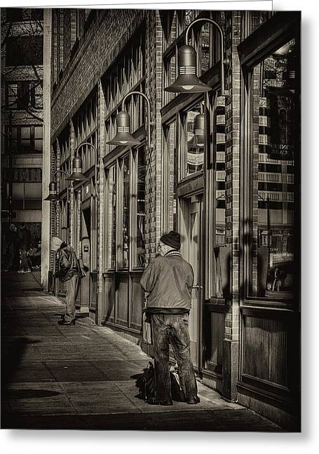 Pioneer Square Seattle Greeting Cards - Just Waiting Greeting Card by David Patterson