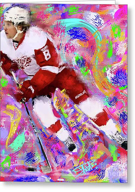 Hockey Paintings Greeting Cards - Justin Abdelkader Greeting Card by Donald Pavlica