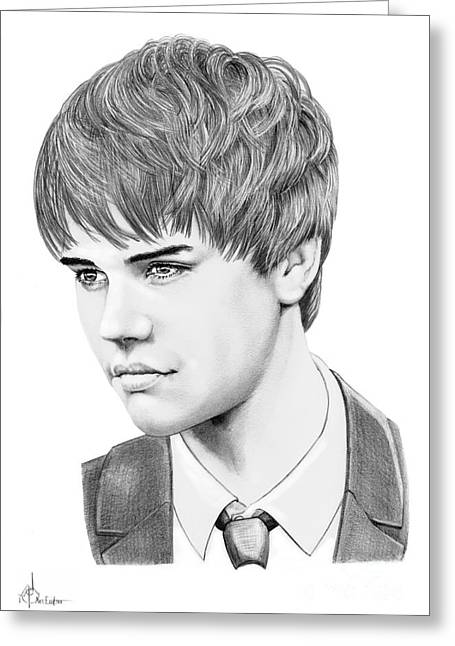 Pencil Drawing Greeting Cards - Justin Beiber Greeting Card by Murphy Elliott