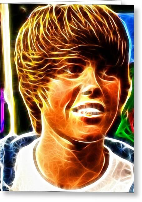 Justin Bieber Greeting Cards - Justin Bieber Color Magic Greeting Card by Paul Van Scott