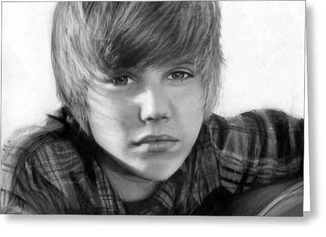 Justin Bieber Drawing Greeting Cards - Justin Bieber Greeting Card by Nat Morley
