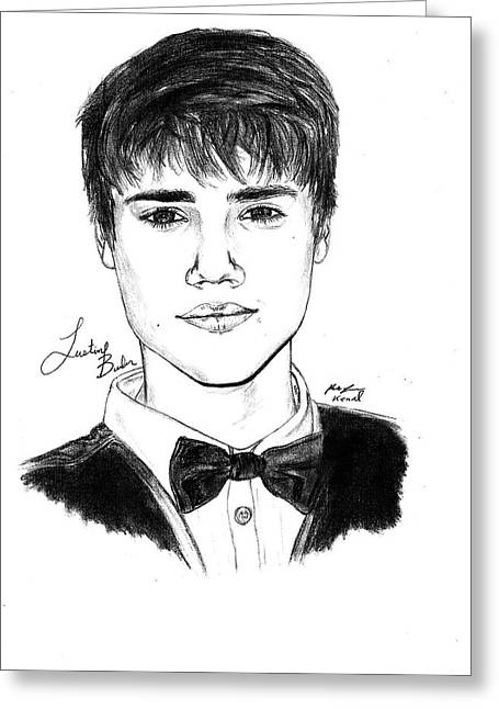 Kenal Louis Greeting Cards - Justin Bieber Suit Drawing Greeting Card by Kenal Louis