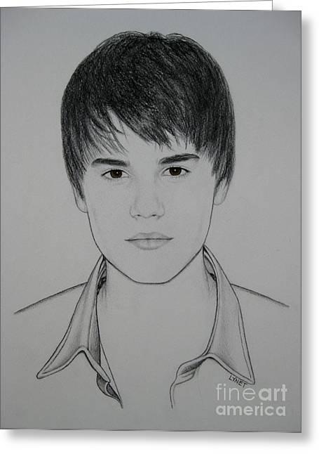 Justin Bieber Greeting Cards - Justin Greeting Card by Lynet McDonald
