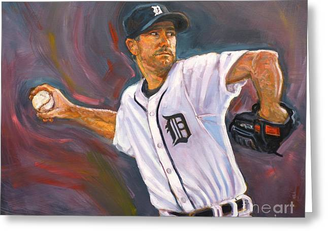 Major Award Greeting Cards - Justin Verlander Throws a Curve Greeting Card by Nora Sallows