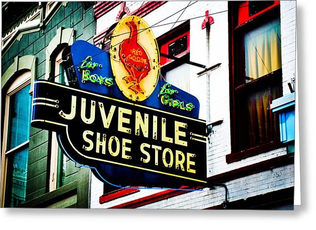 Juvenile Art Greeting Cards - Juvenile Shoe Store Greeting Card by David Waldo