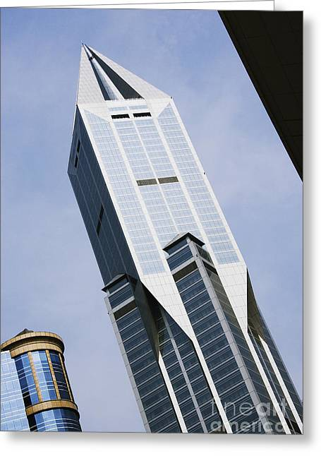 Office Space Photographs Greeting Cards - JW Marriott Tower in Downtown Shanghai Greeting Card by Jeremy Woodhouse