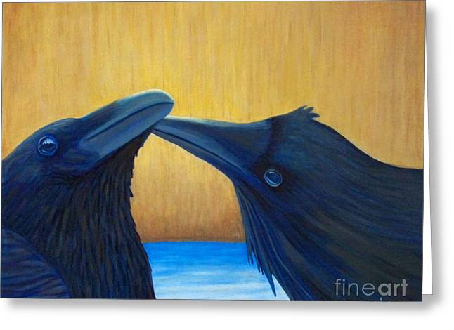 Raven Greeting Cards - K and B Greeting Card by Brian  Commerford