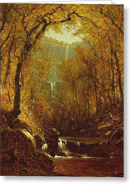 New York State Paintings Greeting Cards - Kaaterskill Falls Greeting Card by Sanford Robinson Gifford