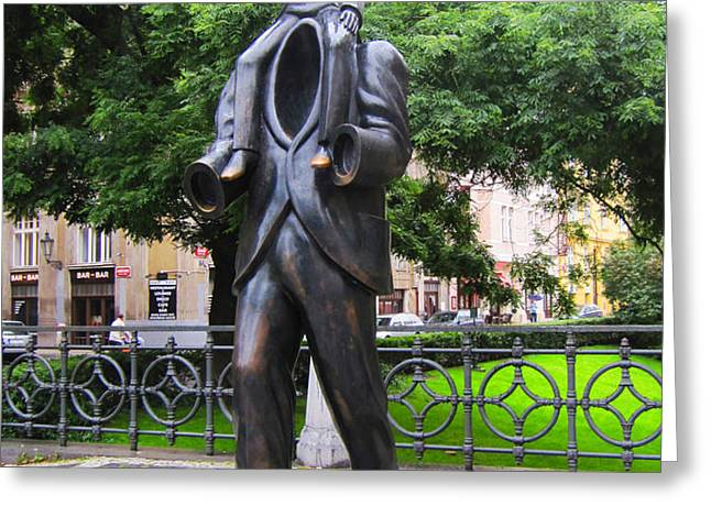 Kafka monument Greeting Card by Edite Azevedo