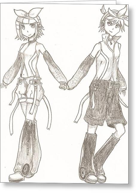 Kagamine Rin And Len  Greeting Card by Martin Quach